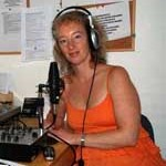 Debbie Bridge in the Radio Studio